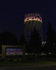 Nightime at the Zoo (TAC.Photography) Tags: watertower detroitzoo nightlights afterdark signs detroit