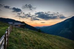 Alpine Hut at Sunset (hl_1001) Tags: austria styria house fence alpinehut sky sunset clouds landscape rural mountain mountainside hiking hdr scenery