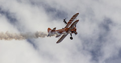 The Flying Circus Wingwalking Team, Shuttleworth Collection Family Air Show, Bedfordshire (IFM Photographic) Tags: img3986a breitlingstearman breitling stearman theflyingcircuswingwalker wingwalker wingwalking nikita aerosuperbatics canon 600d sigma70200mmf28exdgoshsm sigma70200mm sigma 70200mm f28 ex dg os hsm apo tele converter 2x af teleconverter oldwarden bedfordshire beds shuttleworthcollection shuttleworthhouse familyairshow airshow aircraft aeroplane plane airplane boeing