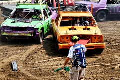Fender on the course (Laurence's Pictures) Tags: boone county fair belvidere illinois state show animal politican tractor 2018 demolision demolition derby cars race auto automobile america crash junk racing nascar em up