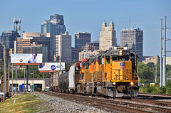 "Eastbound Transfer in Kansas City, MO (""Righteous"" Grant G.) Tags: up union pacific railroad railway locomotive train trains emd power kansas city missouri transfer yard job kcs"
