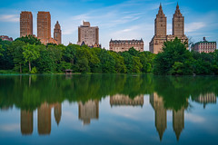 Central Park Lake (Amar Raavi) Tags: centralpark thelake reflection buildings skyline skyscrapers cityscape longexposure architecture water trees park dawn outdoors city uws upperwestside newyorkcity nyc usa
