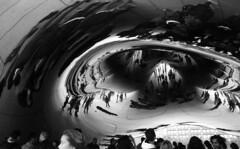 Chicago (SamBHart) Tags: nikonfm2 35mmfilm bwfilm travel usa america 24mmlens wideangle analog chicago illinois reflective chrome bean mirror crowd distortion