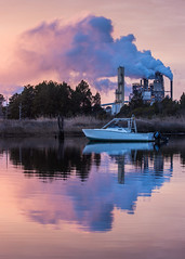 Smoke Wrapper (Oleg S .) Tags: factory georgetown usa southcarolina river water reflection boat smoke vehicle sunset