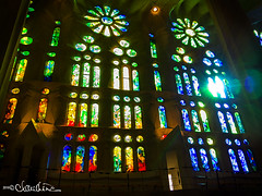 (by claudine) Tags: light16 light l16 capturedbylight barcelona spain summer sagrada família church religious landmark monument statues hand built artistic creative art sculpture architecture building unfinished colorful stained glass vibrant rainbow colors blue green red orange yellow cast casting columns catalan architect antoni gaudí temple flickrchallengegroup