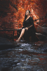 """""""The woods are lovely, dark, and deep but I have promises to keep""""  Robert Frost (RuiFAFerreira) Tags: beauty canon color conceptual colors exterior tamron2875mmf28 forest light landscape mood nature portugal river red blue portrait model female shadow"""
