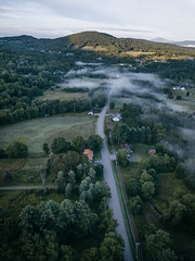 Tranquil (VermontScapes) Tags: early morning fog stowe vt vermont pretty landscape leading line hills green mountains