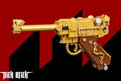 Gold Pistole 1946 - Wolfenstein (Nick Brick) Tags: lego wolfenstein pistole 1946 pistol handgun luger lugerp08 wolfensteintheneworder wolfensteinthenewcolossus frau irene engel life size replica prop nickbrick