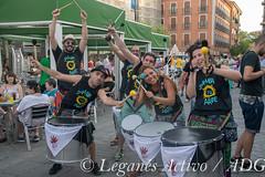 Batukada contra las agresiones sexistas (Leganés Activo) Tags: leganés fiestas pregón campeones batukada escenario gente