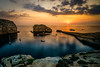 boats in the sunset (K.H.Reichert [ not explored ]) Tags: goldenhour dwejra goldenstunde twighlight sunset visitgozo meer sonnenuntergang clouds malta gozo rocks coast sky sea