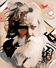 Wisened (Susan Maxwell Schmidt) Tags: wisened surrealistportrait wiseoldman weatheredface skeptic longhairedmale fullgreybeard grayfacialhair surrealism susanmaxwellschmidt surrealportraiture cubism cubist character wrinkled wrinkles elder elderly older worn leathery wisdom discerning knowing trepidation trepidatious aged seniorcitizen skeptical knowledge knowledgeable learned curmudgeon craggy beige tan coralred black white painting machinelearning artificialintelligence ai deepdream neuralnetwork mustache bigwallsize gift