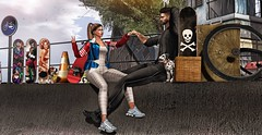♚ 600 ♚ (Luxury Dolls) Tags: couple event infinityevent exclusive pose bento partnership partner fun skate bike street girl boy badunicorn n21 besom hair jumpsuit mowie treschic jacket hollymill versov blog blogger black blue white city fockstore jian feed