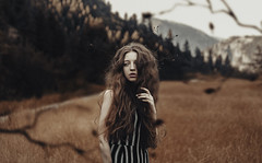 Through the forest (Alexander Shark) Tags: dark darkness girl hair air sky clouds vintage hills landscape trees field countryside forest mountains leaves portrait