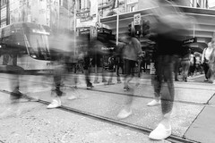 Urban Blur (SemiXposed) Tags: melbourne long exposure people feet traffic road street outdoors tram tracks lights walking motion cbd australia