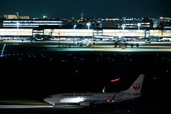 DSC_3469-e (oonnuuoo) Tags: jal 日本航空 ja346j b737846 b737800 b737 hnd rjtt 羽田空港 airport airplane hanedainternationalairport nikon nikond750 d750 sigmaapo150500mmf563dgoshsm sigma 150500 飛行機 夜景 流し撮り night