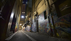 a night on the town (Shadyezz) Tags: melbourne city street alley lane graffiti streetart light nightphotography lowlight night
