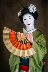 Spirit of the Geisha (Trent's Pics) Tags: dancer dancing fan female geisha girl japan kimono kyoto lifestyle lips maiko odori people portrait woman