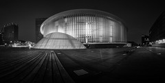 "The concert hall ""Pilharmonie"" (lja_photo) Tags: luxembourg luxembourgcity kirchberg philharmonie amphitheatre concert hall cityhall architecture architectural art artificial abstract white europe exploration evening night nightscape nightphotography atnight illuminated light lights lighting dramatic contrast travel tourism tourisme black blackandwhite bw bnw blackandwhitephoto building buildings beautyful backlight monochrome monotone monoart moody modern design panoramic reflections tower urban outdoors photography street streetphotography shadows skyline fineart fujixt20 longexposure landscape landmark city cityscape noperson"