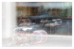 Borough Market (AEChown) Tags: icm boroughmarket london blur bicycles reflections window glass pinkwheels