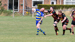 A high one (Steve Barowik) Tags: yorkshire westyorkshire nikond500 barowik leeds ls26 stevebarowik sbofls26 rugbyleague rl nationalleague 70200mmf28gvrii sport competition try conversion penalty sinbin referee linesman ball pitch sticks posts team watercarrier dx cropframe kick pass offload dropkick forwardpass centre wing prop forward back fullback unlimitedphotos wonderfulworld quantumentanglement oultonraiders shawcrosssharks nationalconferencedivisionone