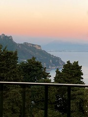 Gulf of Salerno at Sunset from the Villa Cimbrone (Herculeus.) Tags: 2018 compania europe evening gardens gulf gulfofsalerno iphone8 italy landscapes may meals mediterraneansea mountains mountainside outdoor outdoors outside portrait ravello sea sky spring sunset villacimbrone water 5photosaday
