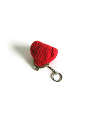 Coin Purse Knitted in Red Cotton (brandacrafts) Tags: knits branda coinpurse red