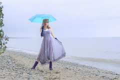 The Blue Umbrella (marylee.agnew) Tags: woman self lace umbrella dress lake red hair