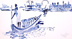 AFRICA TO THE NAKED 374 (eduard muntada) Tags: africa to the naked oxid 374 watercolor light sun river boat minimal blue purple