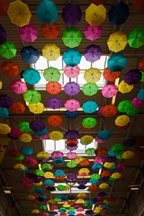 Umbrellas Overhead (Karen_Chappell) Tags: umbrellas umbrella mall building stjohns newfoundland nfld canada atlanticcanada avalonpeninsula architecture multicoloured colourful colours colour color spectrum rainbow red green blue orange yellow purple rgb roygbiv pink windows ceiling art