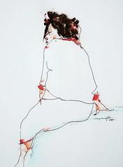P1018064 (Gasheh) Tags: art painting drawing sketch portrait figure woman line pen color pastel gasheh 2018
