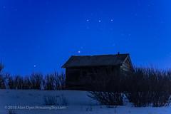 Orion's Belt Behind the Old Shed (Amazing Sky Photography) Tags: 105mm april astronomytools belt m42 nikkor orion orionnebula sword binocular depthoffielddemo evening rustic setting shed telephoto
