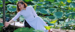 Beauty (khoitran1957) Tags: girl woman flower fashion pond lotus vietnam aodai sigma