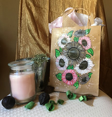 Sandy Pink Sunflowers (jasmynewhite13) Tags: art decoration sunflowers gift bag giftbag pink brown inspiration