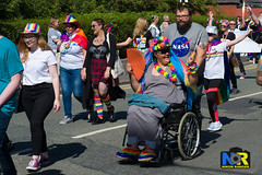 Wigan Pride 2018. (Nikon Ranger) Tags: red wigan pride wiganpride2018 nikonranger nikond3s nikon 2470 lbgt lbgtq colorful street people parade rainbow colour color outside outdoors 2018 wheelchair flowerpower fan shorthair hat glasses nasa smile lesbian