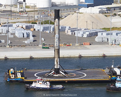 Falcon 9 Enters Port Canaveral (alloyjared) Tags: spacex falcon9 portcanaveral merahputih spacecoast florida jettypark helicopter aerialphotography floridaairtours