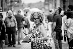 Caught Red Candid (Cycling Road Hog 2018) Tags: blackwhite candid canoneos750d citylife colour efs55250mmf456isstm edinburgh fashion monochrome people places royalmile scarf scotland street streetphotography streetportrait style urban woman