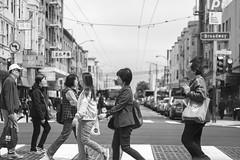 Broadway street in San Francisco (grexsysllc) Tags: bayarea nikon nikonphotography chinatown sanfrancisco westcoast california people peoplewatching streets streetphotography blackandwhite blackandwhitephotography monochrome culture road crosswalk walking