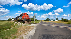 Open Country for the Keokuk (benpsut) Tags: train prex prex4101 keokukjunctionrailway clouds sky farm open road emdgp9 emdgp9rm crossing shortline trains railroad carthage illinois country 4101