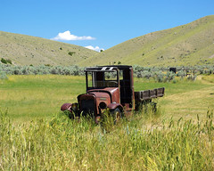 Abandoned International Truck, Bannack, Montana, July 30, 2010 (exit78) Tags: abandoned abandonedinternationaltruck antique auto automobile bannack car corroded freeimages freephotos ghosttown junk montana mountains old pickup royaltyfree rusted rustic rusting scrap transport truck vehicle vintage