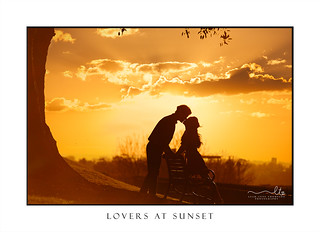Lovers kiss silhouette