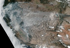 Fires in California and Smoke Throughout the West, Suomi NPP (sjrankin) Tags: 30july2018 edited nasa usgs noaa california northerncalifornia southerncalifornia fog clouds greatbasin nevada oregon idaho utah colorado arizona newmexico mountains centralvalley cascades sierranevada fires wildfires smoke haze coastrange sanfrancisco saltlakecity reno lasvegas losangeles sacramento sanfranciscobayarea carrfire fergusonfire yosemite yosemitenationalpark weaverville redding suominpp