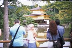 (✞bens▲n) Tags: leica m4 provia 100f summilux 50mm f14 film analogue slide japan kyoto golden temple kinkauji tourists reflection