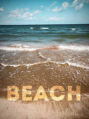 Beach graphics poster #jcutrer (joncutrer) Tags: happy decor printable island saltwater gulfofmexico gulfcoast mustangisland mustangislandstatepark promotional destination travel vacation outdoors cool relaxing calm marketing background creativecommons royaltyfree jcutrer waves beach water ocean sand texas poster graphics title text