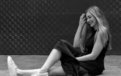 Emelia 6 Mono (TheseusPhoto) Tags: beautiful pretty girl woman female model elegant dress modeling sanfrancisco artistic art laughing portrait portraiture pose smile body sitting