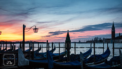 Italian Sunrise (fentonphotography) Tags: venice italy sunrise gondola boats water clouds seascape landscape lamppost silhouette bacinosanmarco