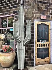 Southwest Corner (Ellery Images) Tags: building number urn entrance elleryimages brick open door window cactus corner shop southwest
