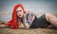 Morgan (Debbie Deboo) Tags: model woman redhair sexy beach sea water sand legs tattoo