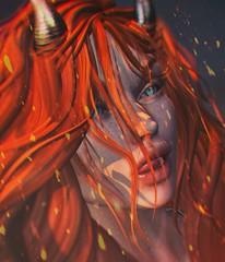 """Beyond The Burning Skies"" (+FallenAngel Blackburn+) Tags: portrait secondlife redhead fantasy horns demon blueeyes fire embers truth doux red head"