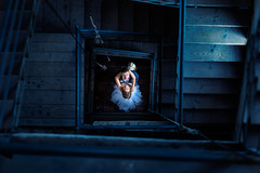A&T (dontgiveacake) Tags: wedding photo session bride groom stairs black blue orange fine art spiral dark mood beauty finesse