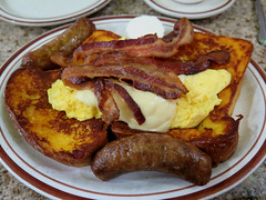 Breakfast Special (Coyoty) Tags: goldrocdiner hartford connecticut ct diner restaurant food frenchtoast scrambledeggs scrambled eggs cheese bacon sausage pork meat breakfast brown yellow white